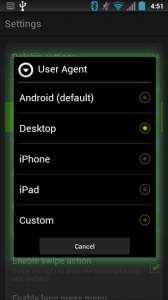 Dolphin Browser HD User Agent