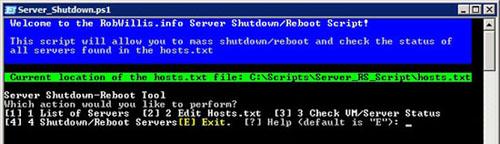 PowerShell - Simple Mass Server Shutdown/Reboot Script with Menu