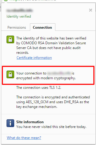 Fix the obsolete cryptography warning in Chrome on IIS 7 & 8