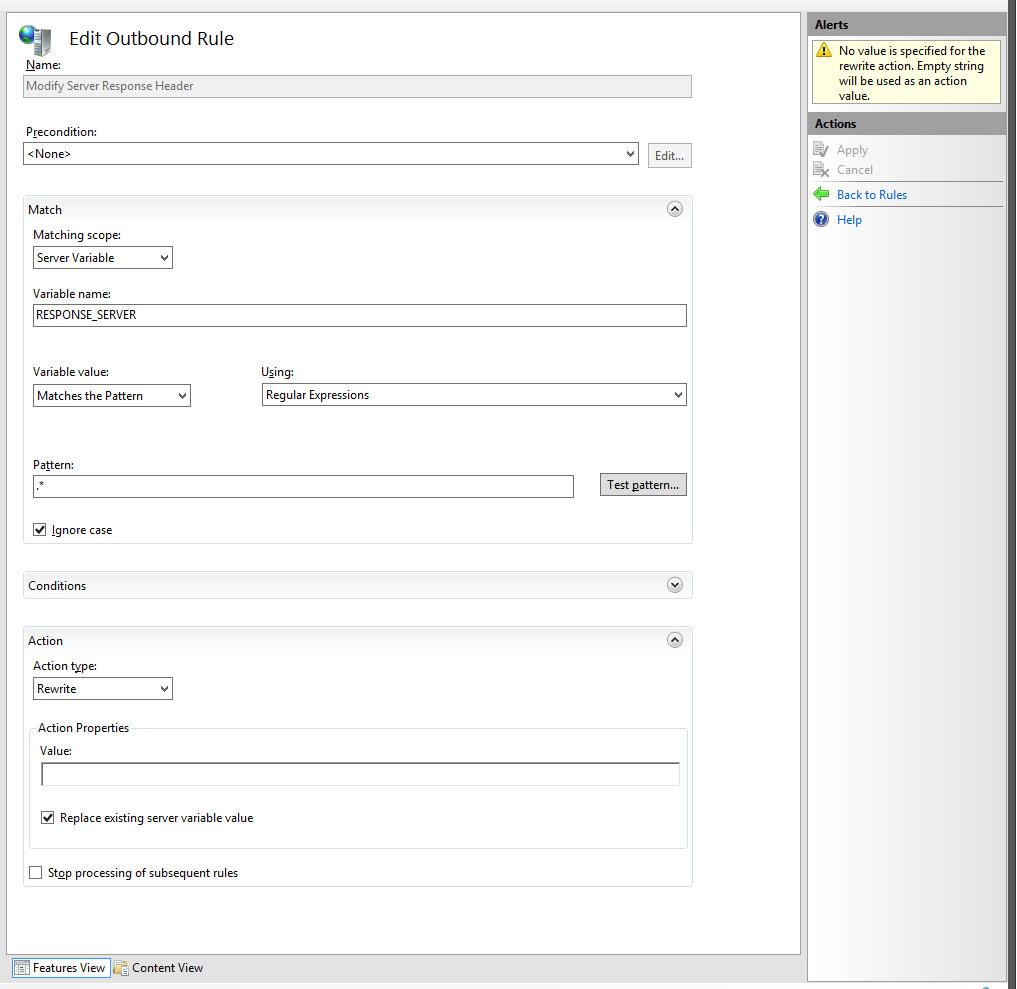 Modifying HTTP Response Headers in IIS 8 with URL Rewrite