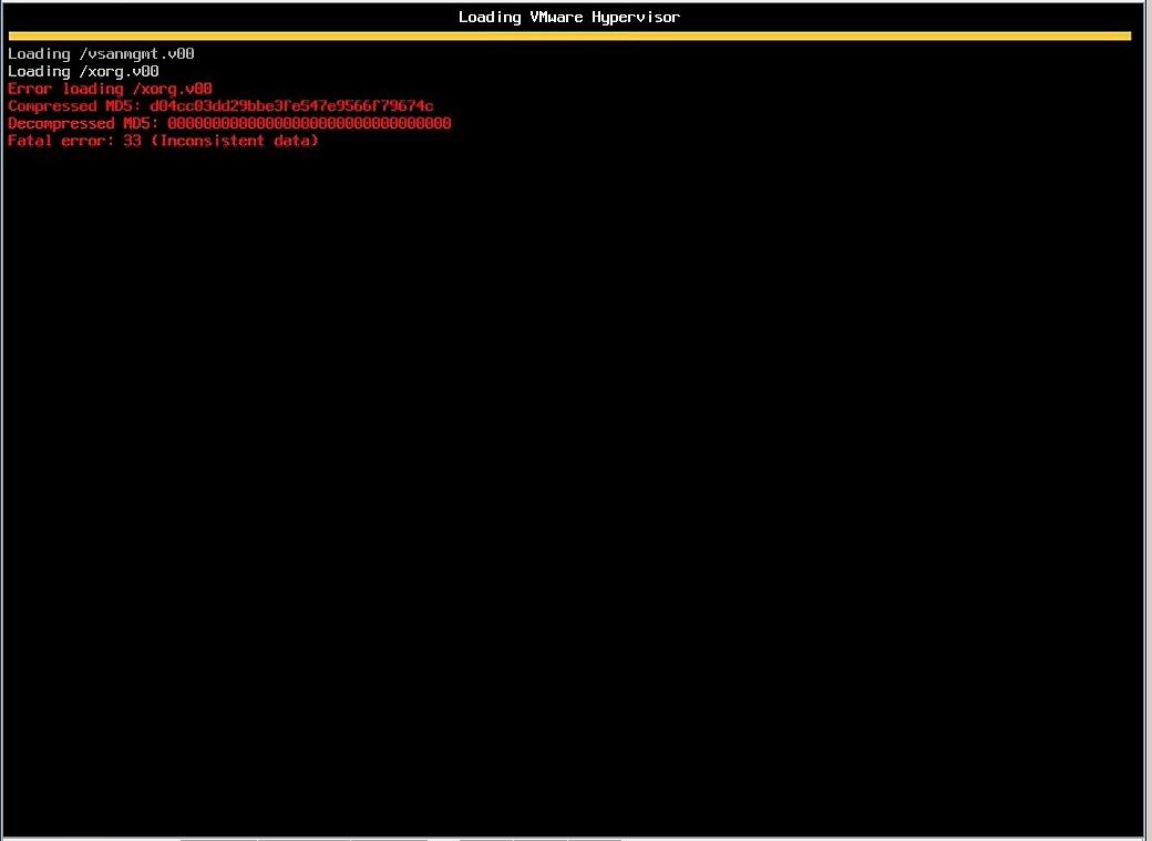 ESXi 6 5 - Error Loading /xorg v00 Fatal Error: 33